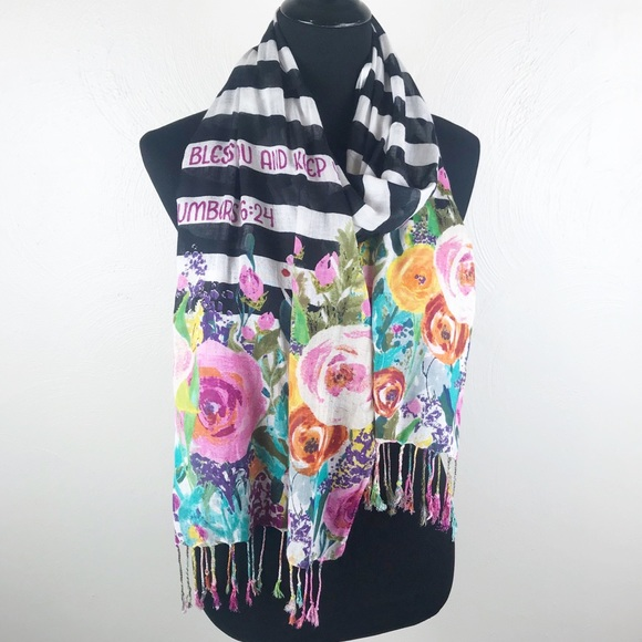 Accessories - NUMBER 6:24 Womens Floral Fringe Scarf
